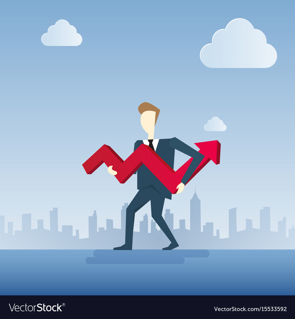 Business man hold red arrow up financial success