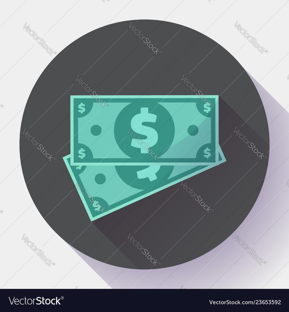 Cash dollar icon in flat style - usa money
