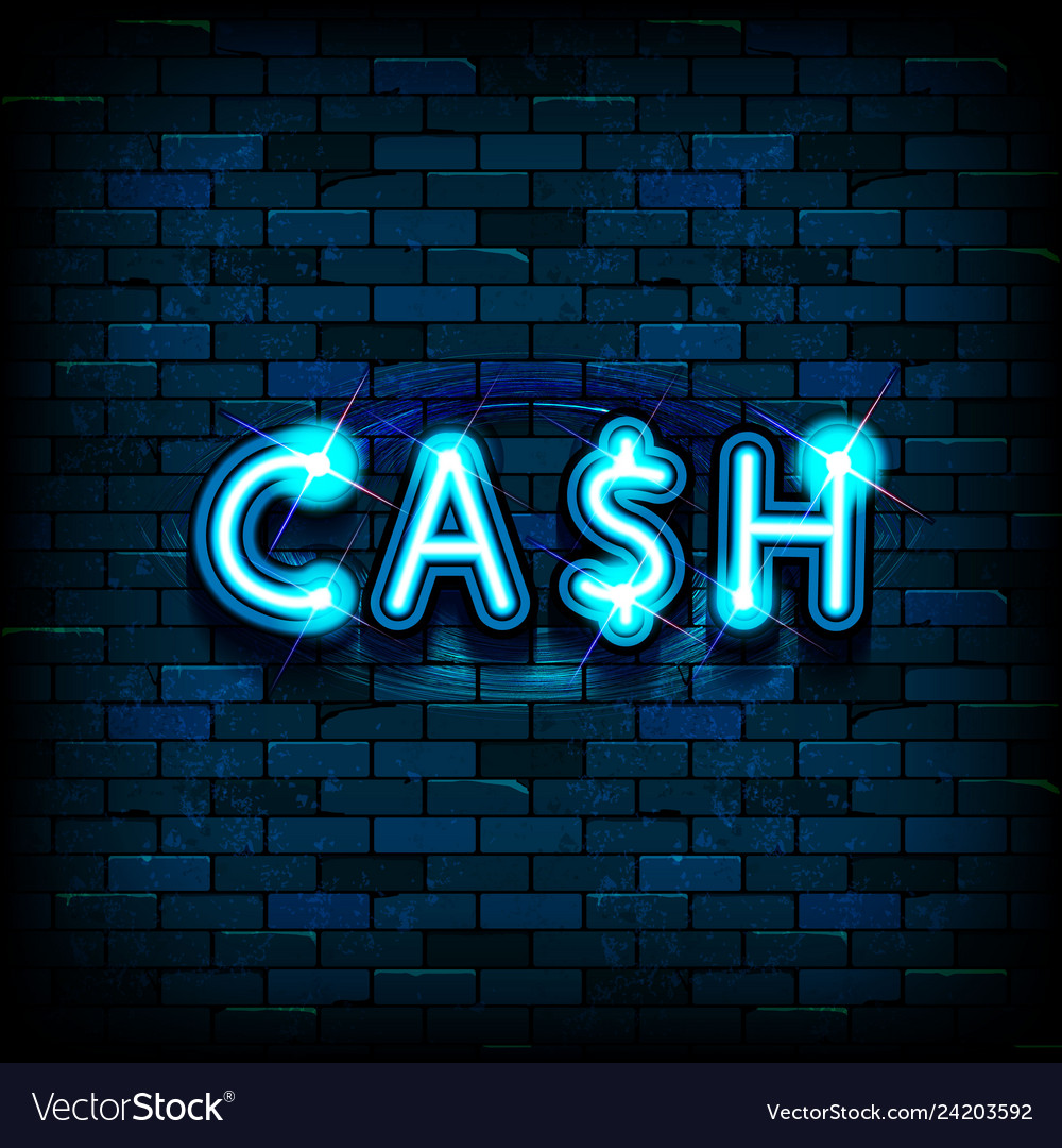 Cash neon text vector