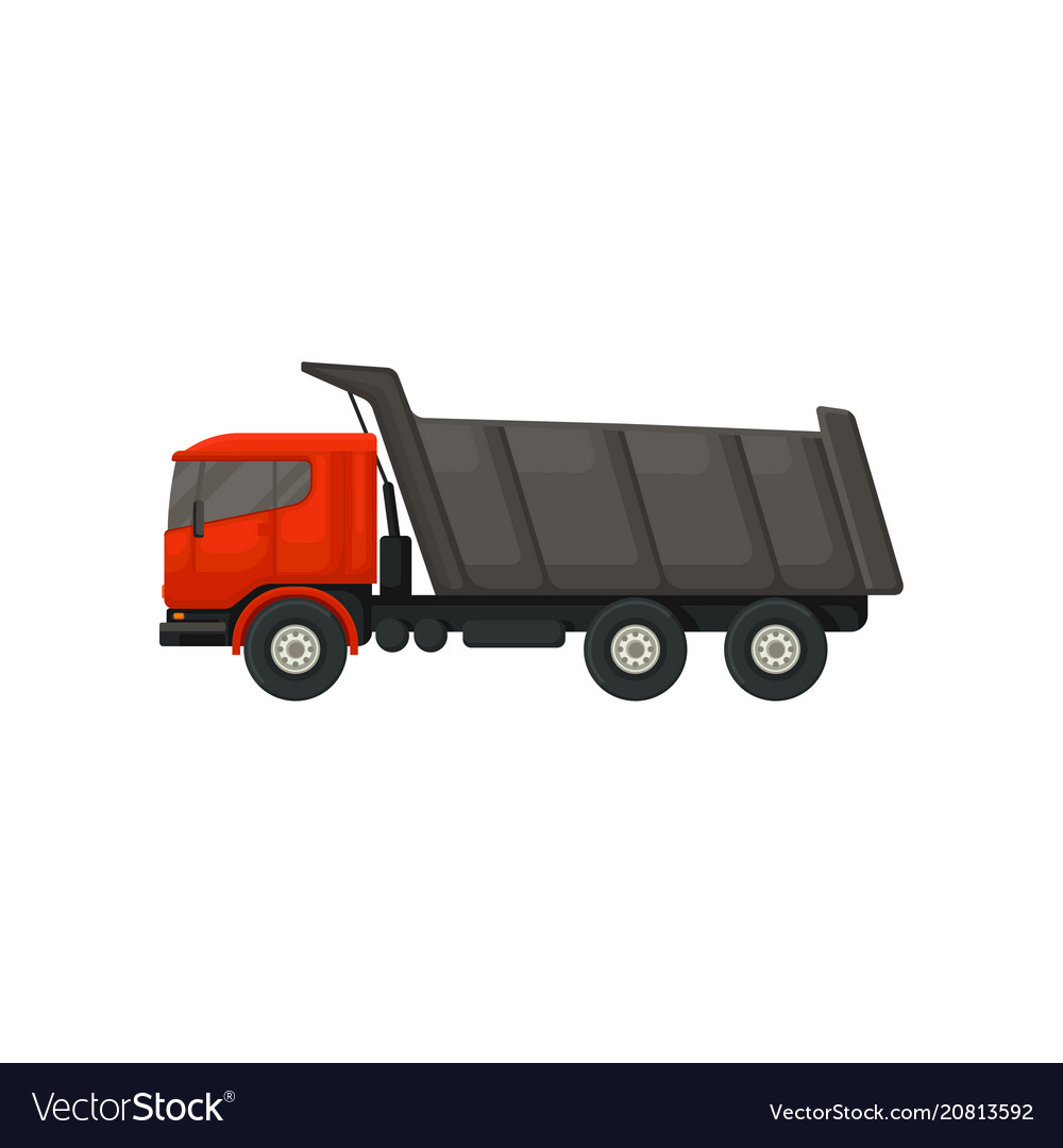 Dumper truck with hydraulic tipping body motor vector image