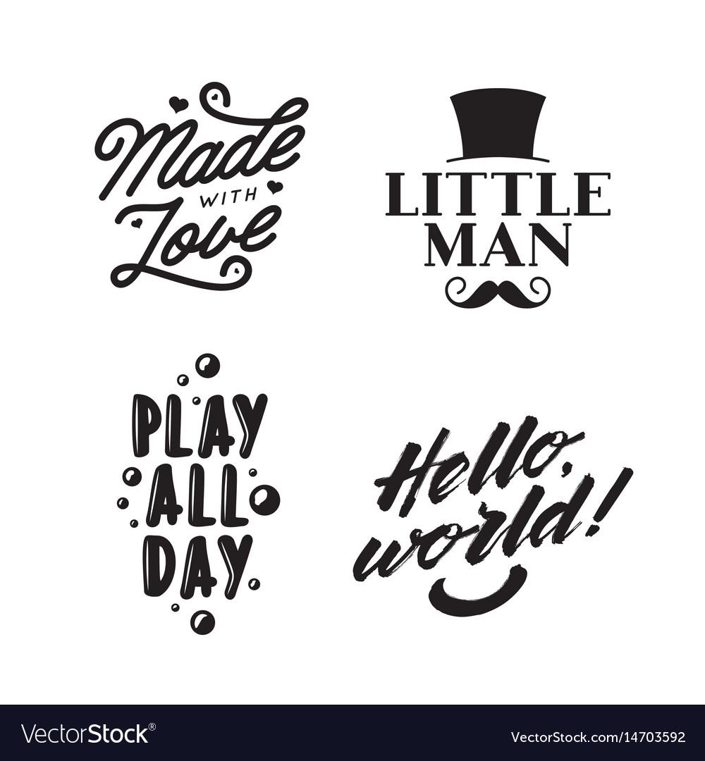 Kid clothes typography prints vintage vector image