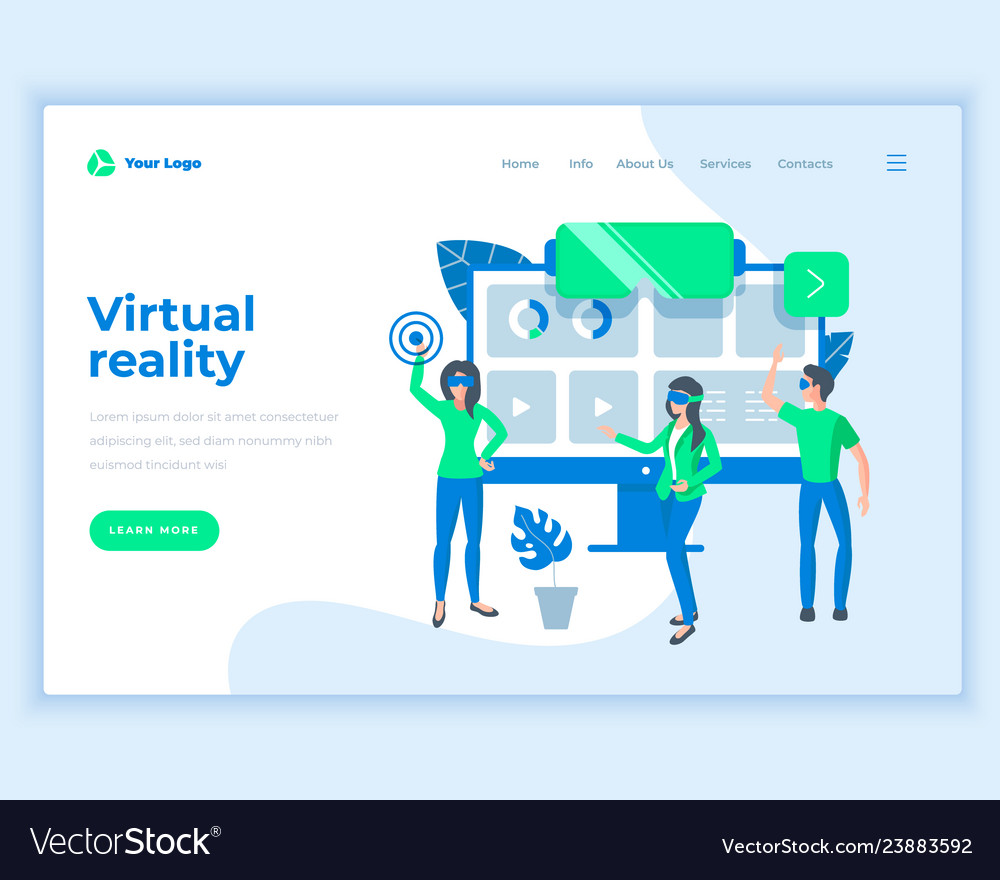Landing page template virtual reality concept with