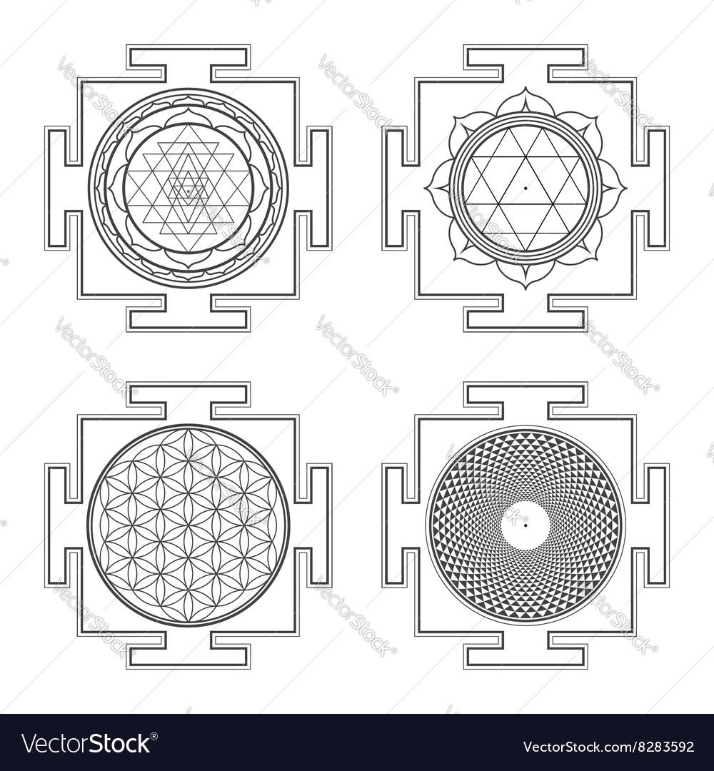 Monocrome outline hindu yantra set