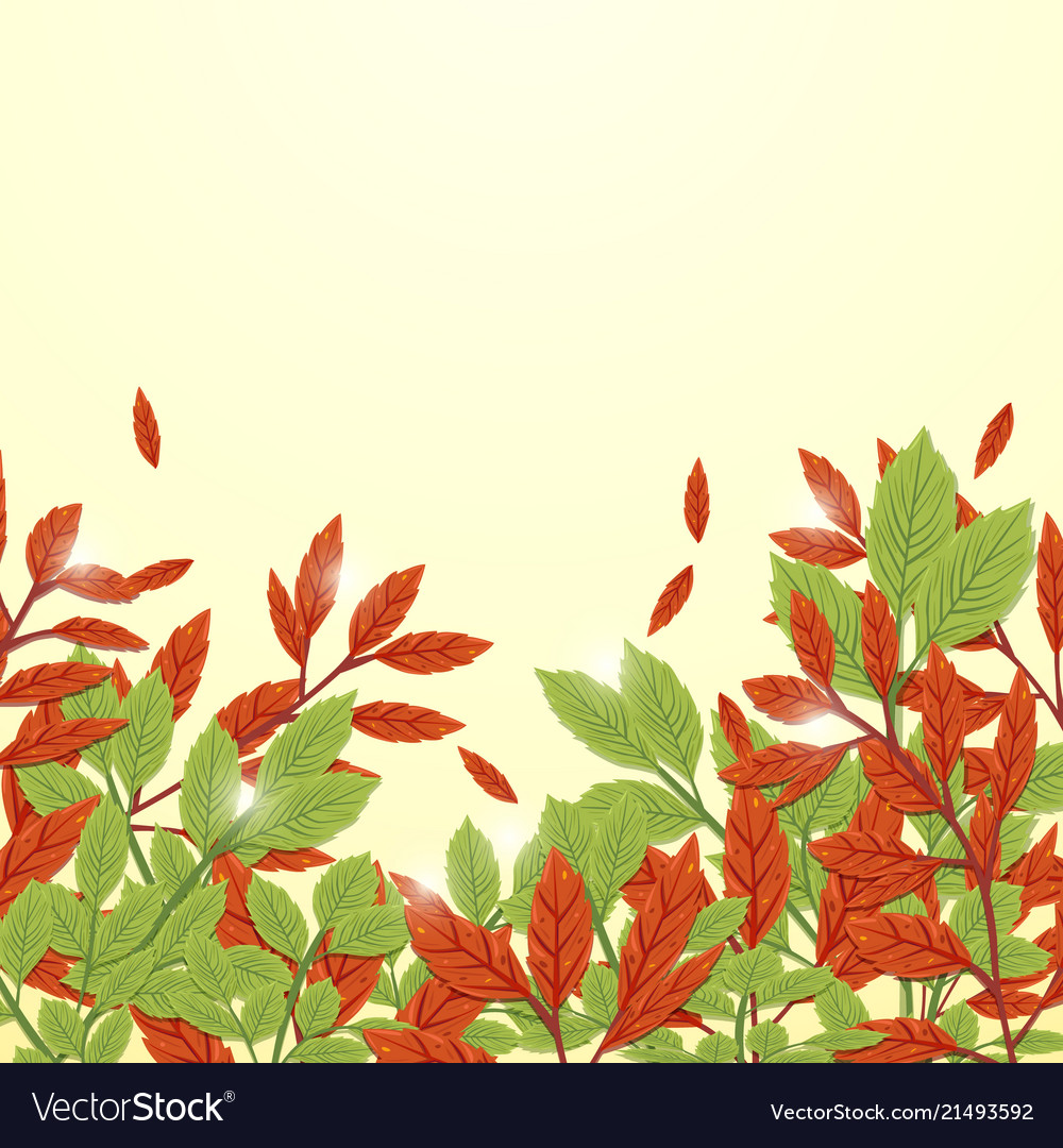 Red and green leaves autumn background freehand