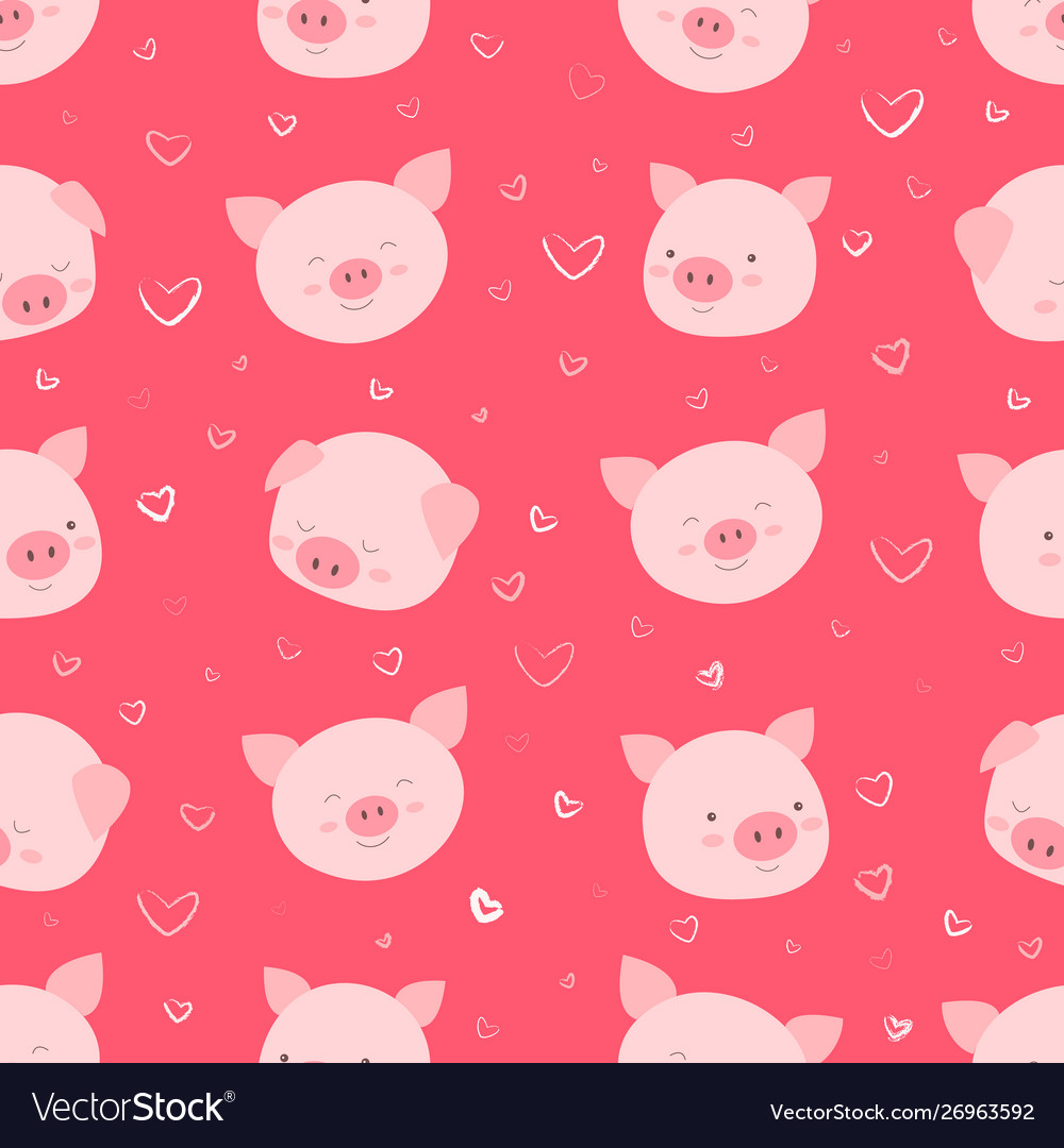 Seamless pattern with happy funny faces pigs