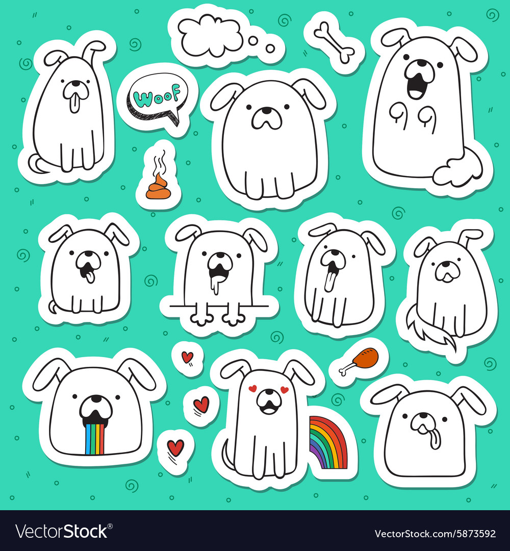 Set of 10 dogs doodle handmade stickers Dogs with
