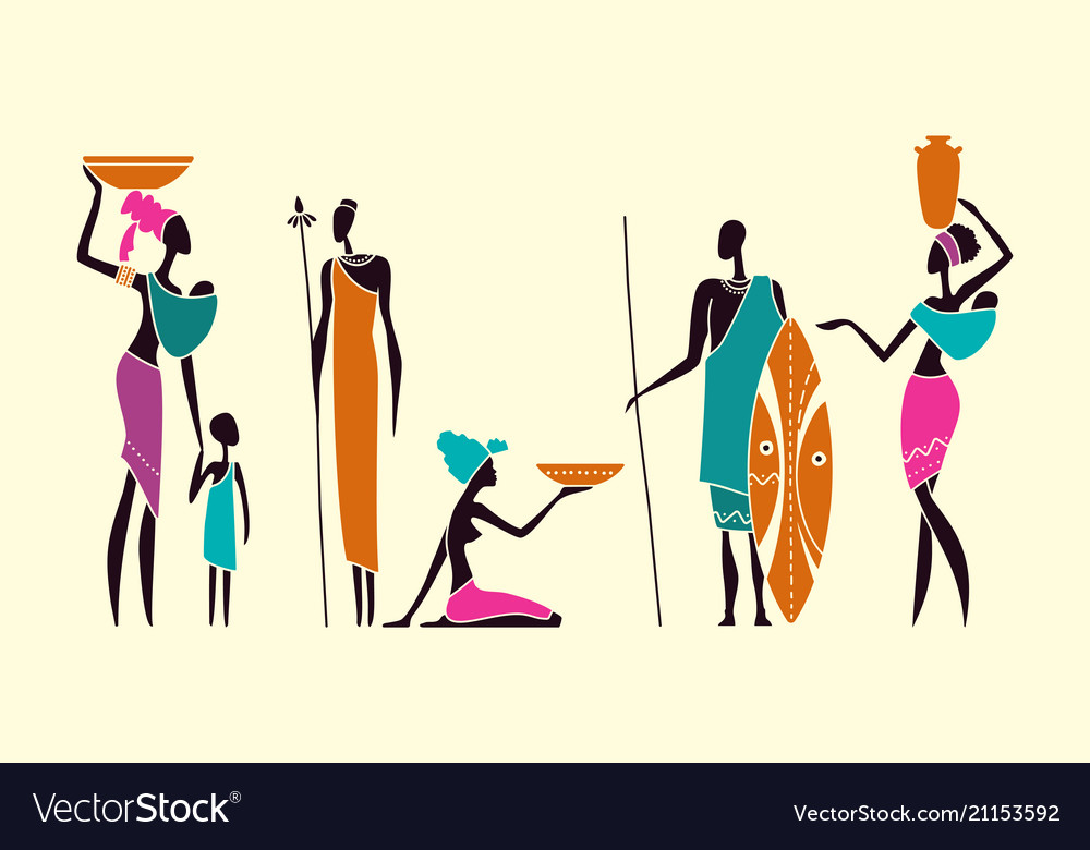 Silhouettes of native african people
