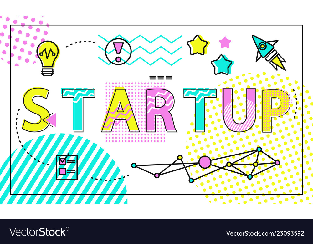 Start up poster and icons set