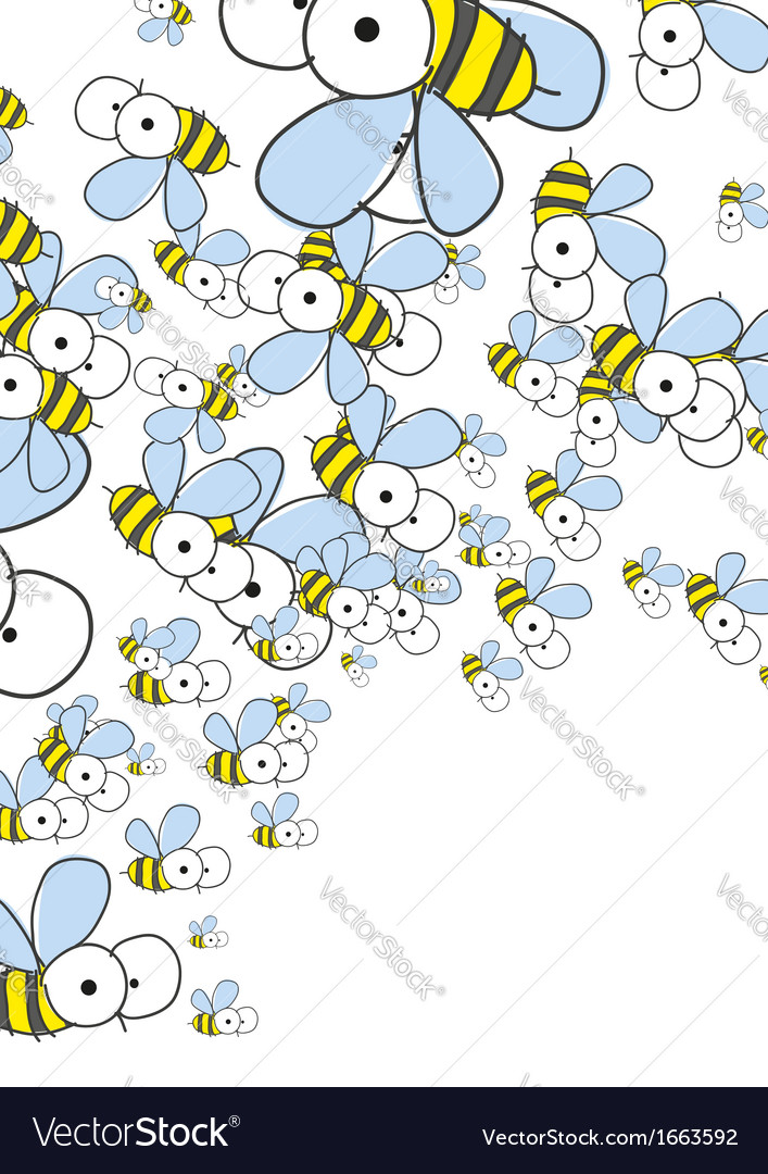 White Background With Bees Spring Background