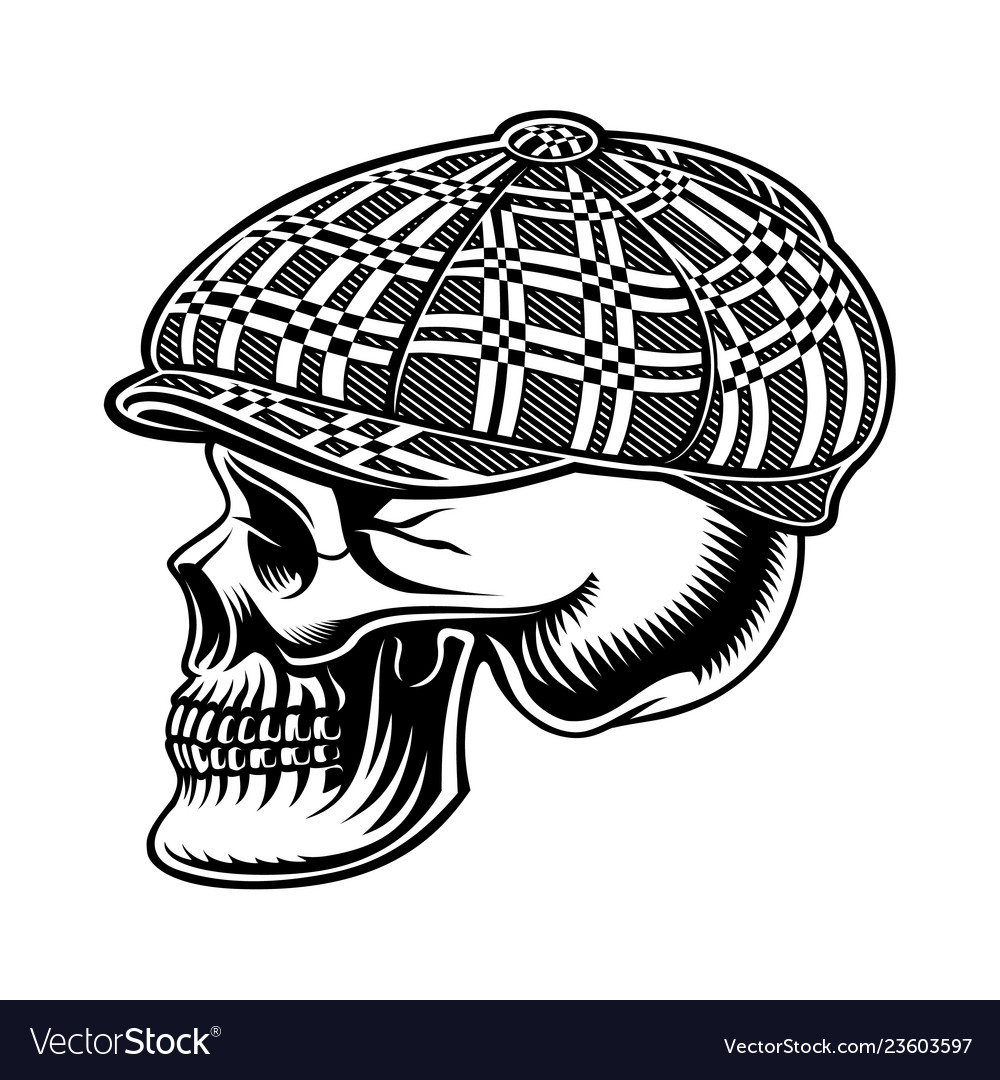 Black and white of a bully skull in cap