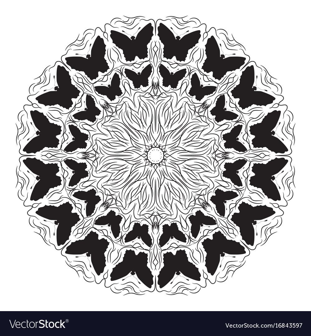 Circular Pattern With Butterflies Royalty Free Vector Image Crochet Doily