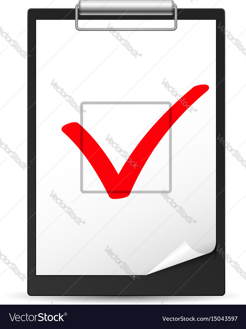 Clipboard with checkmark of designer on white