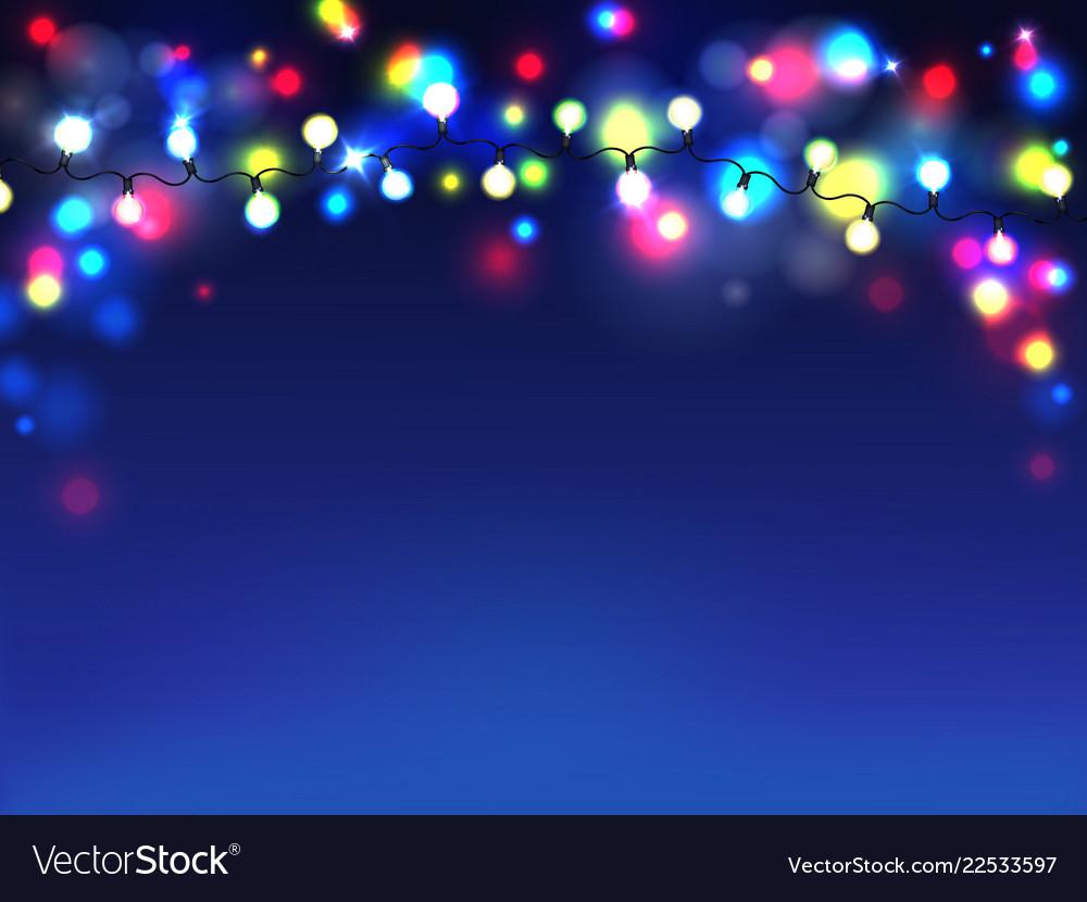 Garlands on blue background diffuse lights