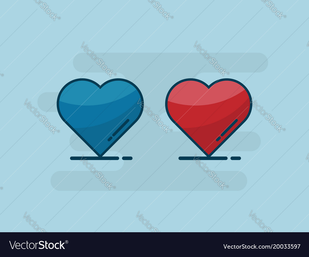 Heart shape flat design vector image