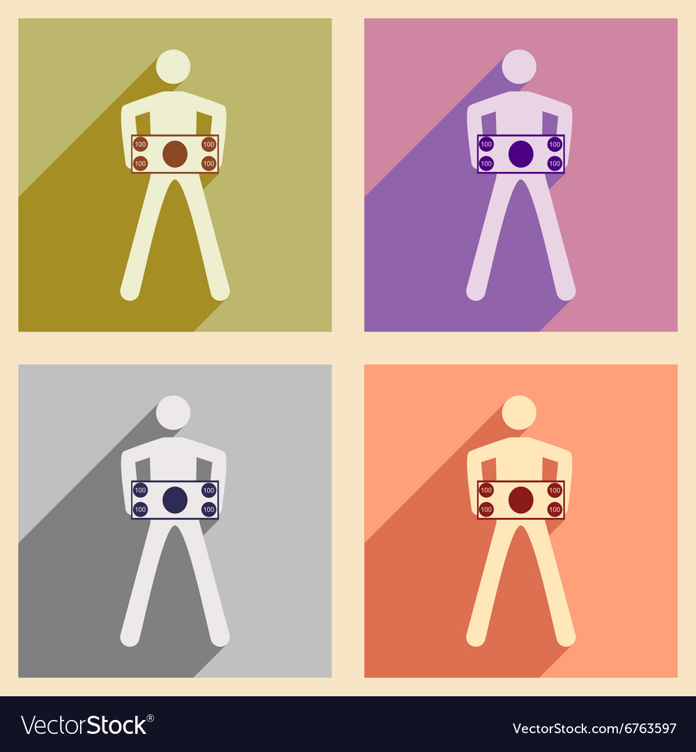 Modern collection flat icons with shadow People vector image