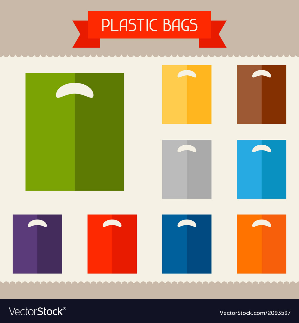 Plastic bags colored templates for your design in vector image