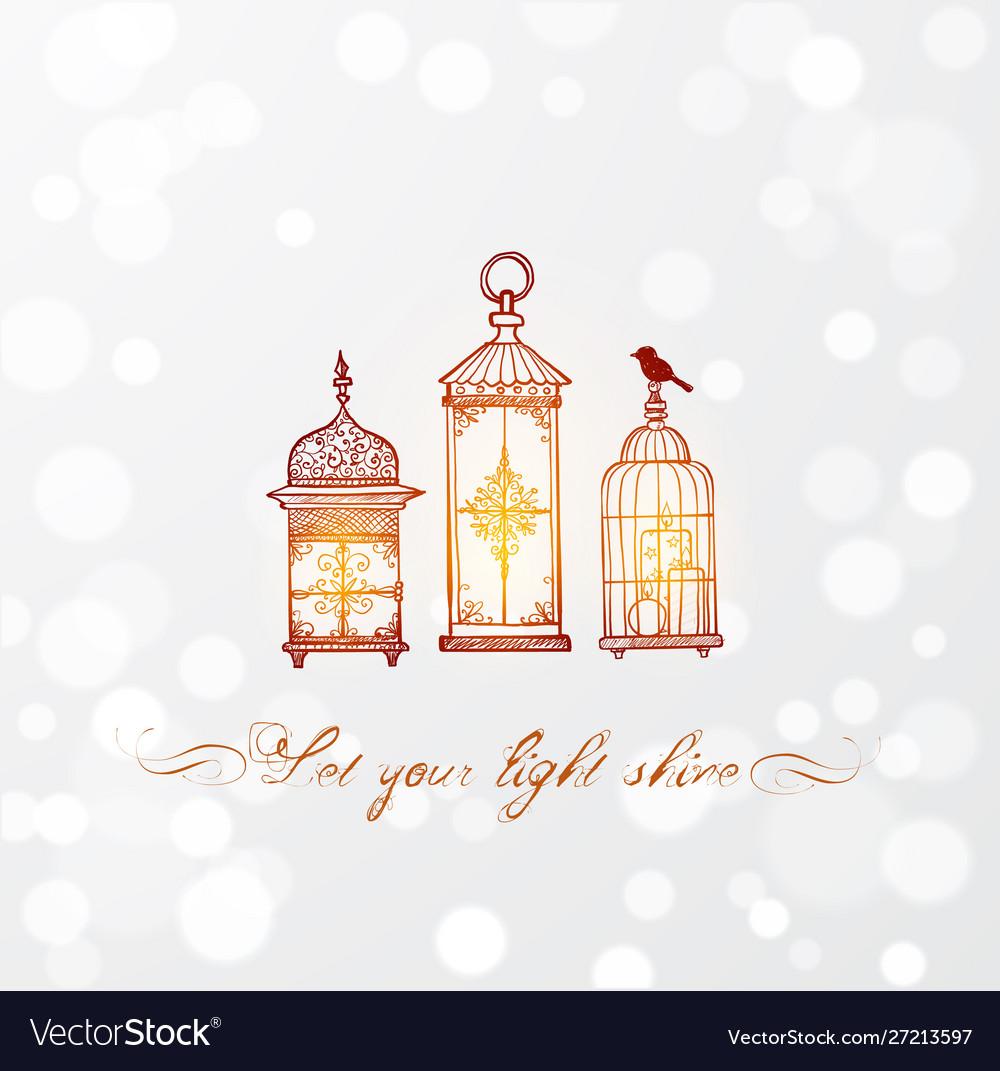Three Shining Vintage Rustic Lanterns In Doodle Vector Image