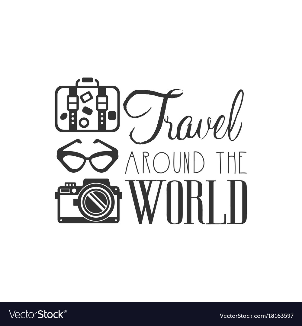 Travel Around The World Logo With Traveler Vector Image