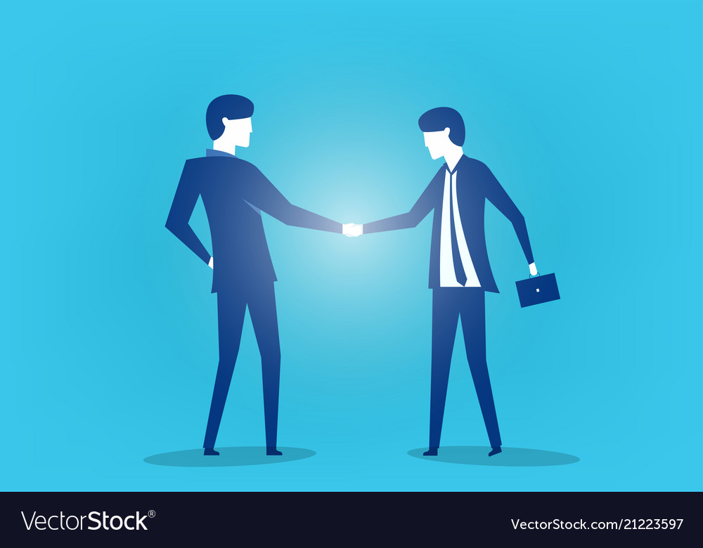 Two business man shaking hands art