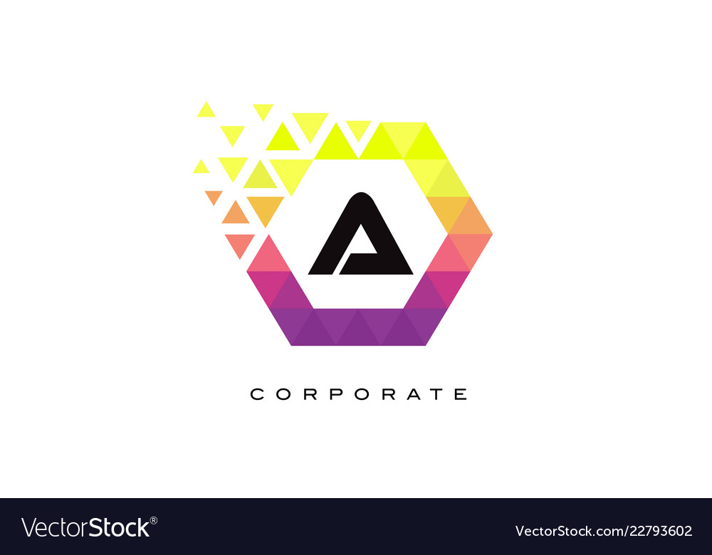 A colorful hexagon shaped letter logo design