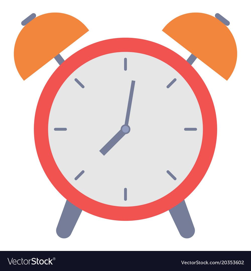 Alarm clock icon flat style