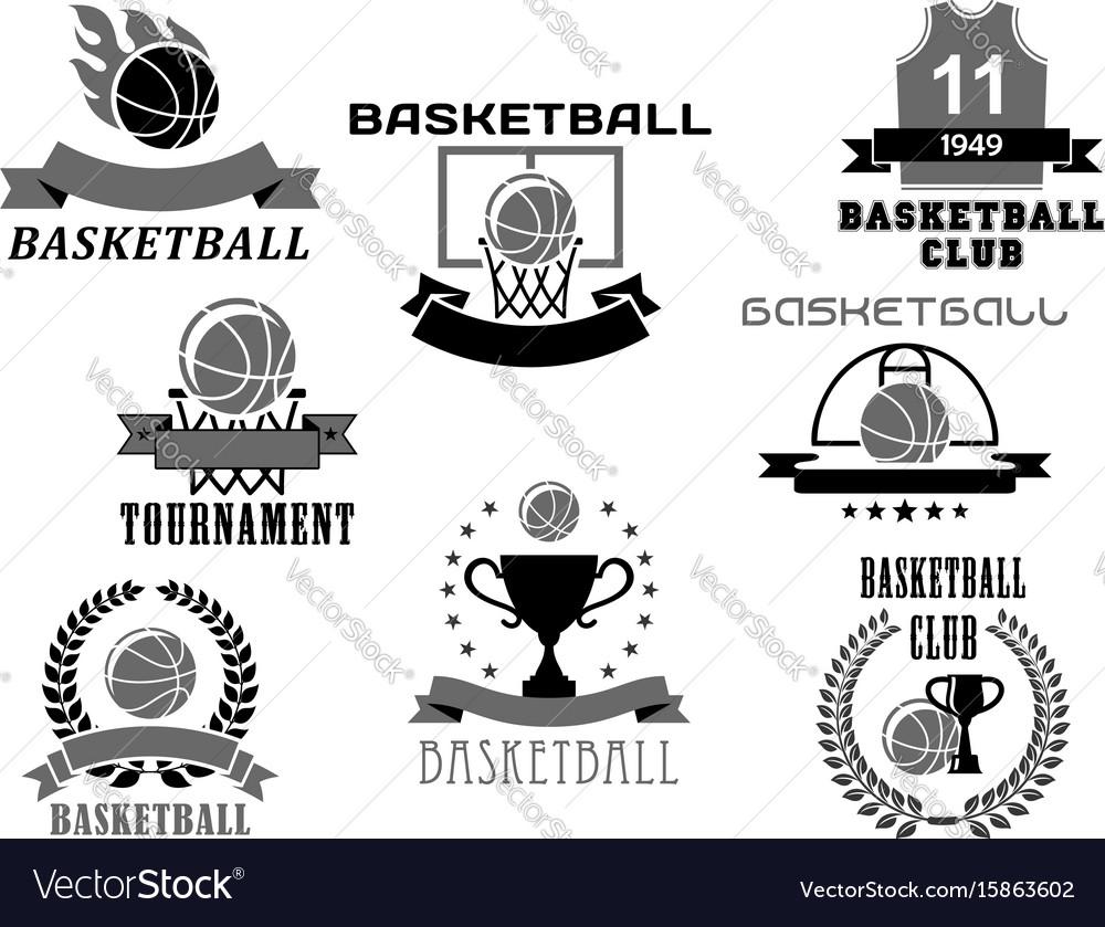 Basketball icons set for club championship