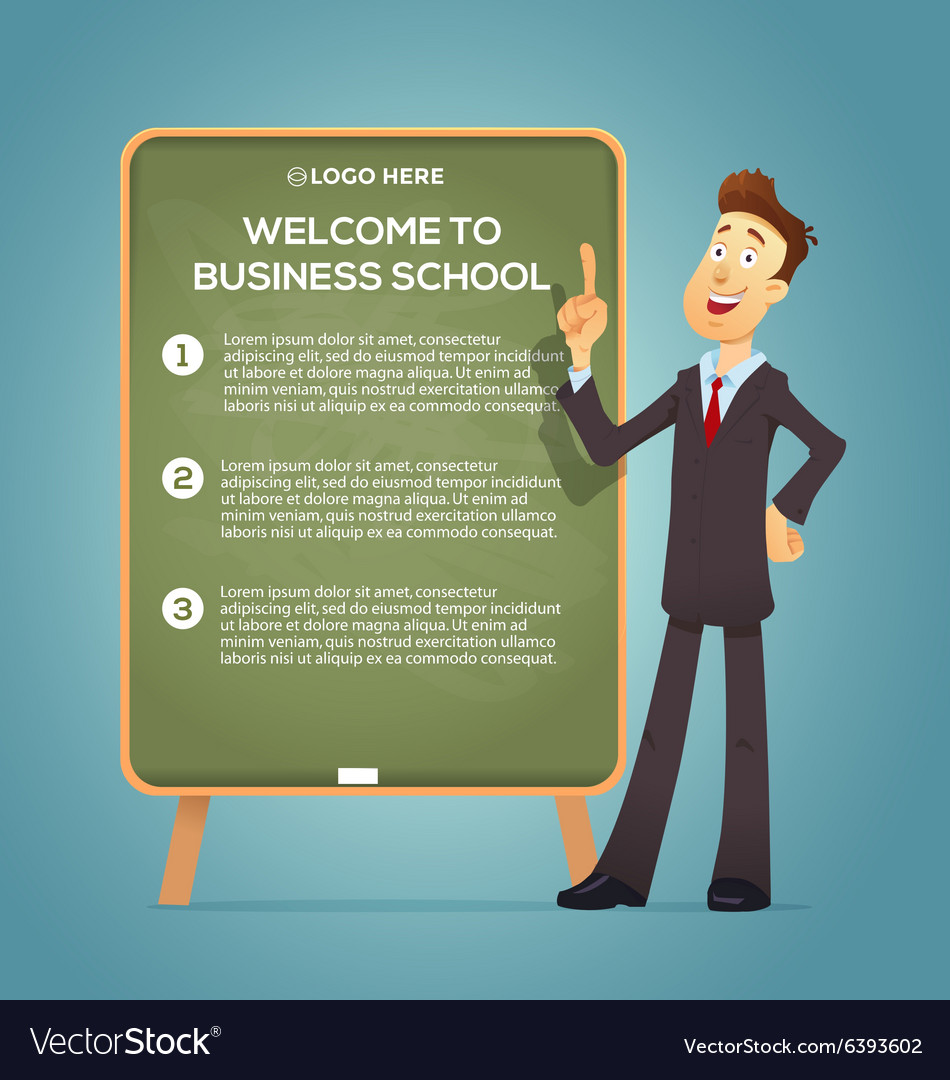 Business coach at the blackboard