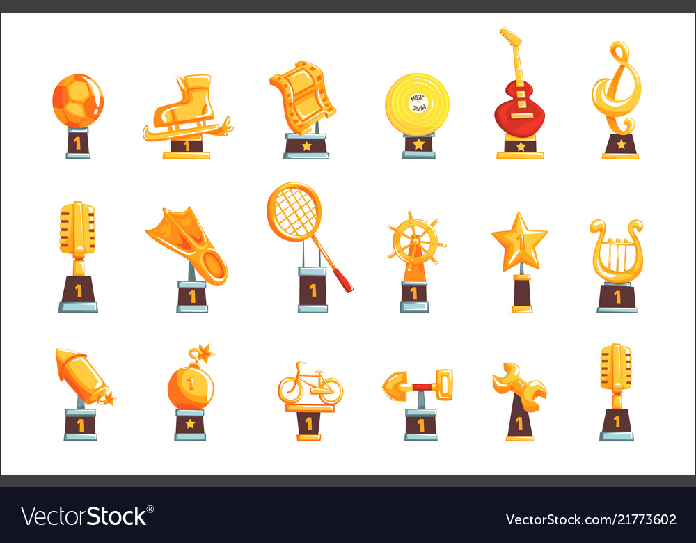 Cartoon golden trophy cups awards and