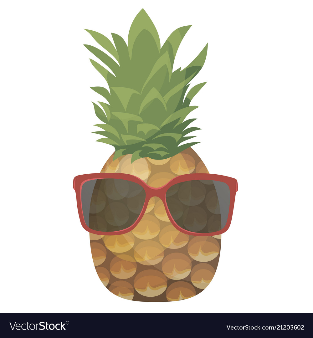 Cartoon pineapple in glasses colorful print of
