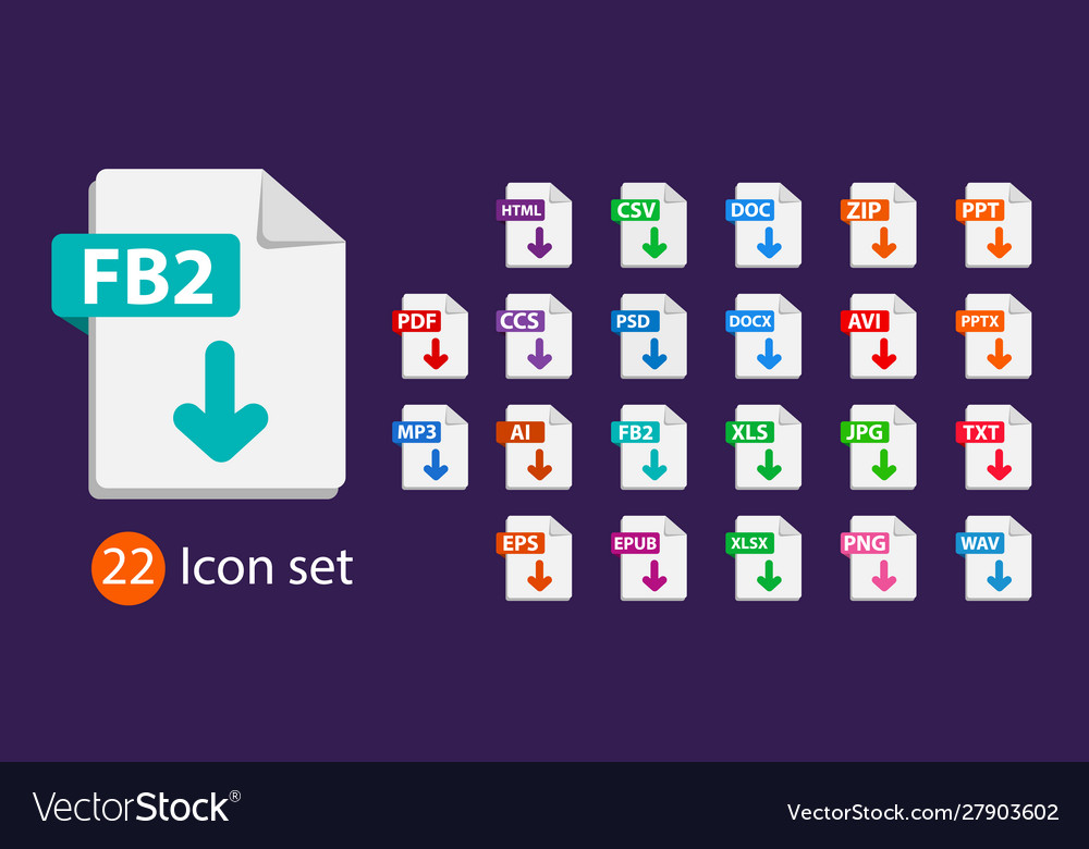 Collection icons sign download fb2 on