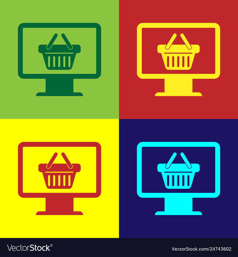 Color computer monitor with shopping basket icon