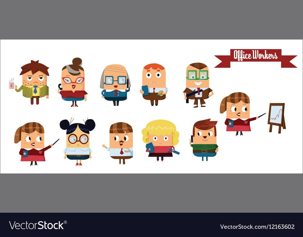 Digital cartoon characters set vector image
