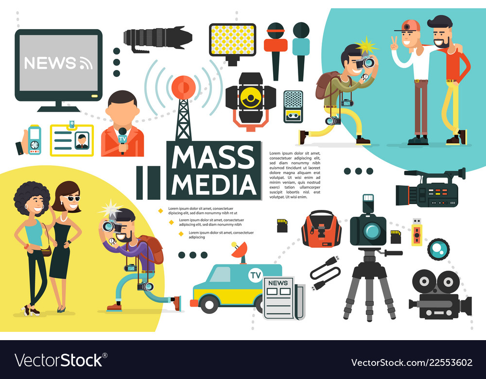 Flat mass media infographic template