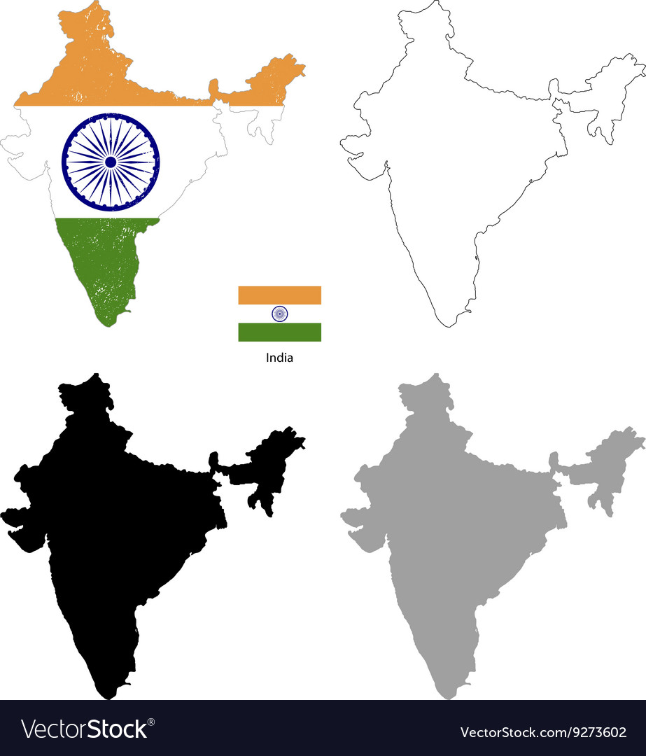 India country black silhouette and with flag on