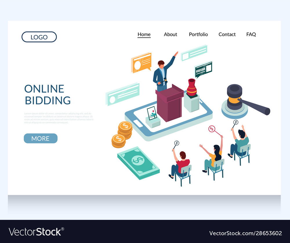 Online Bidding Website Landing Page Design Vector Image