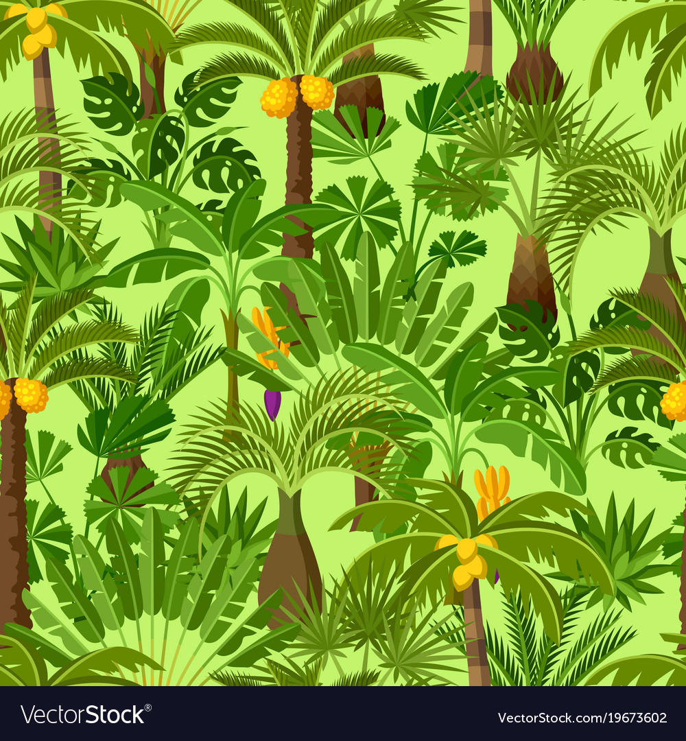 Seamless pattern with tropical palm trees exotic