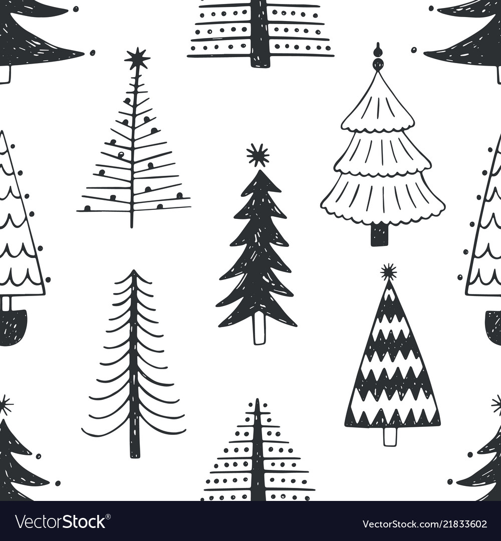 Seamless pattern with various christmas trees