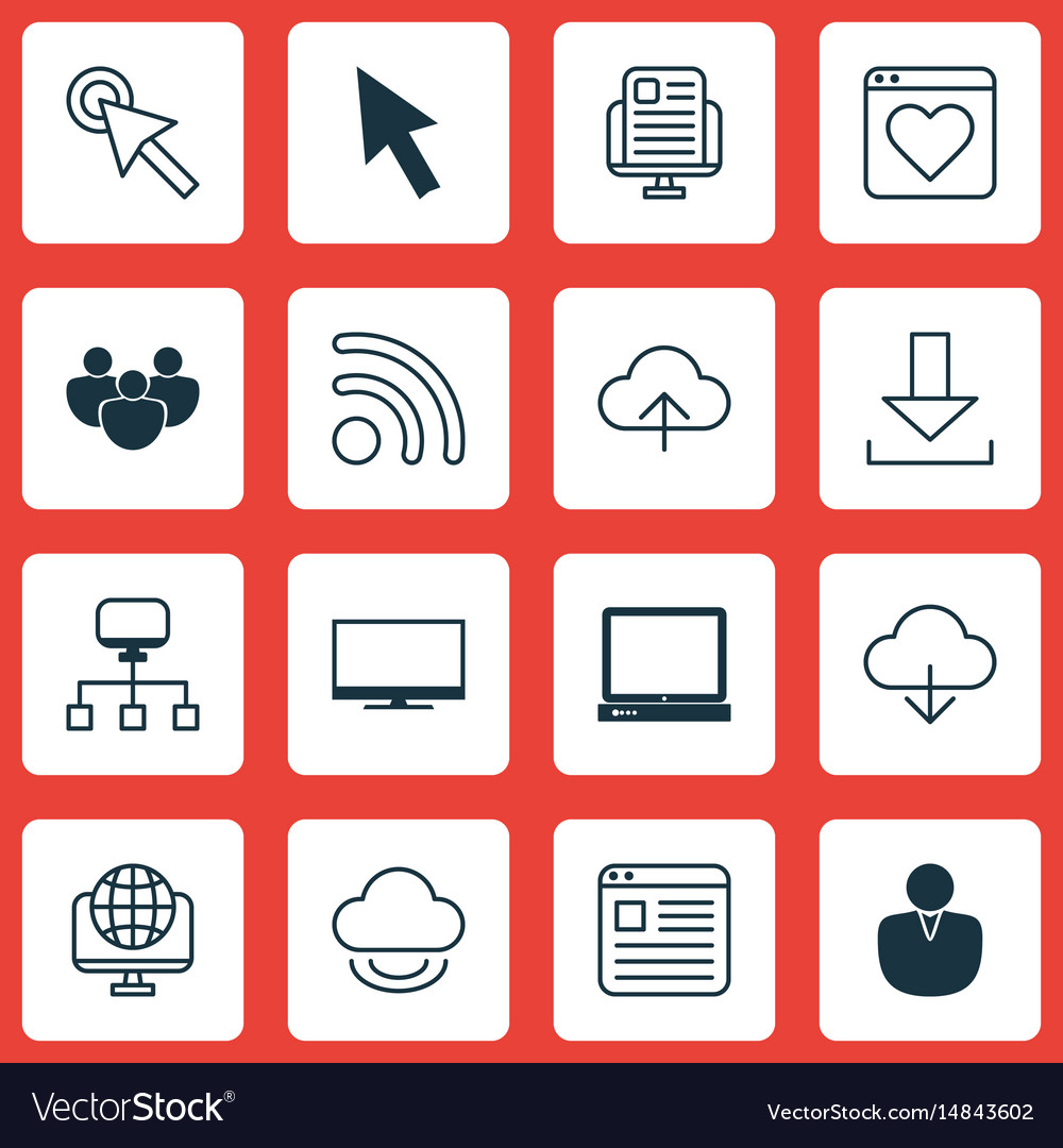 Set of 16 world wide web icons includes computer