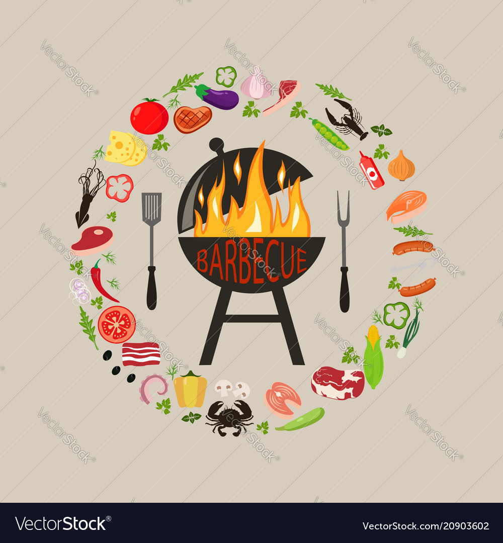 Set of barbecue objects