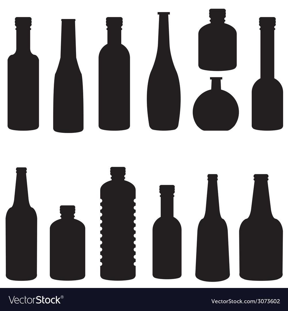 Silhouette of bottle set vector image