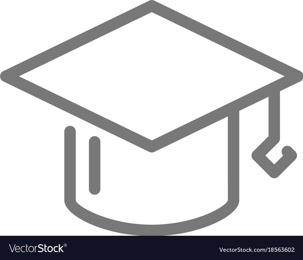 simple graduation cap line icon symbol and sign vector image