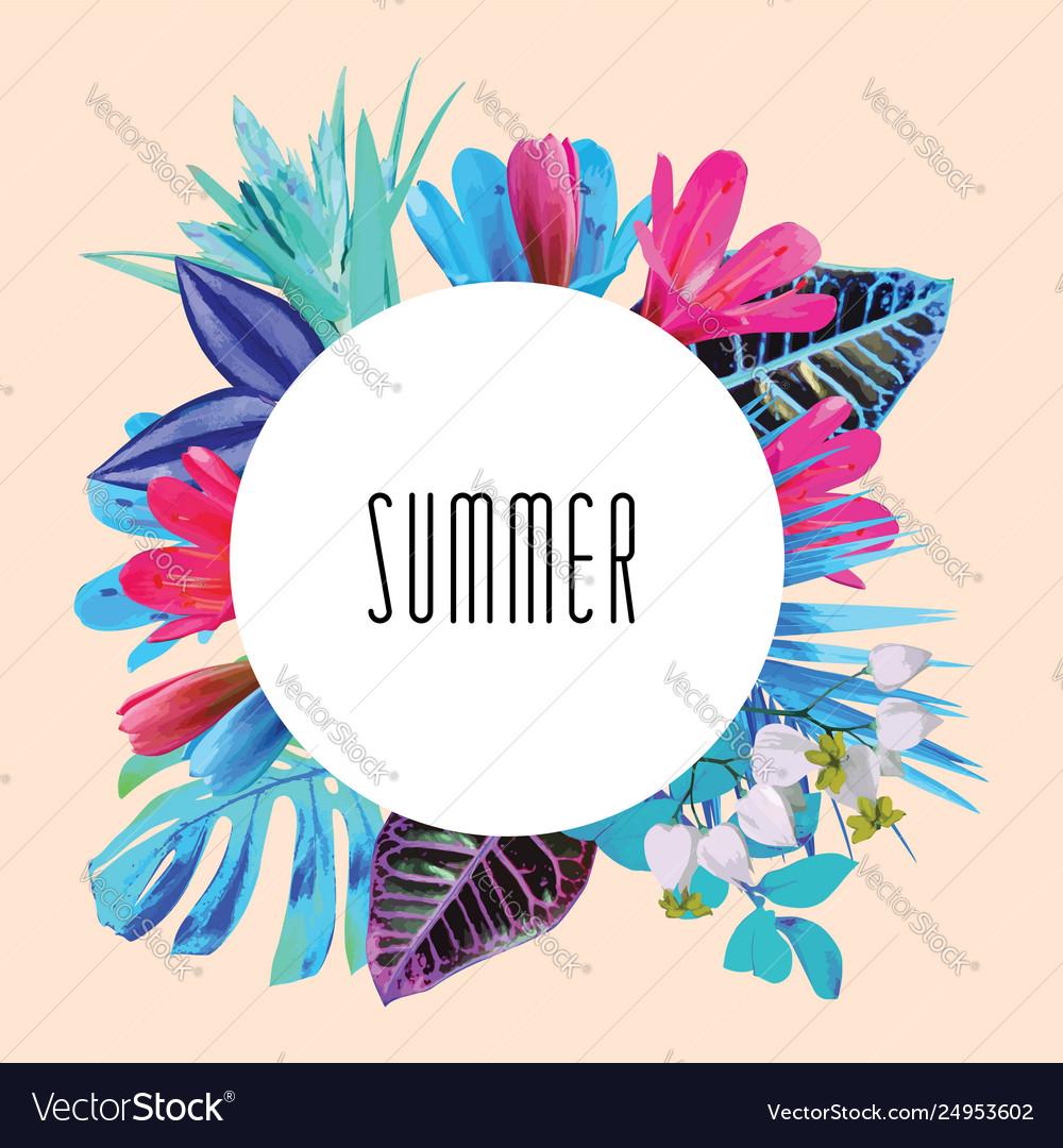 Summer floral round print