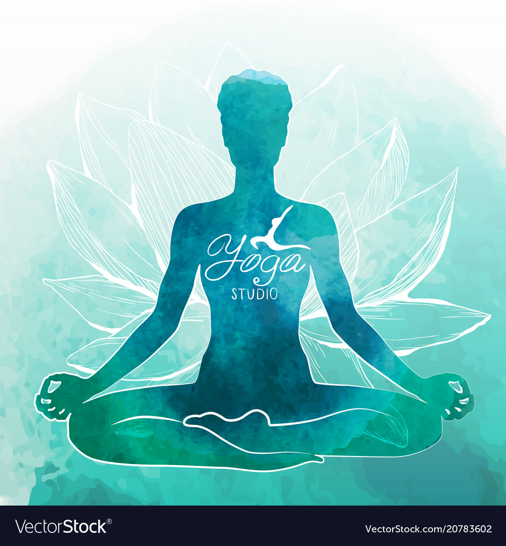 Yoga Relaxation And Meditation Watercolor Vector Image