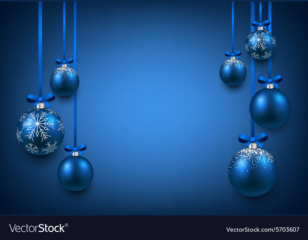background with blue christmas balls vector image - Blue Christmas Balls