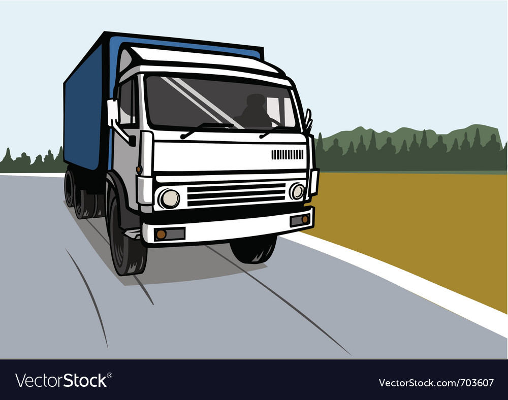 Cargo truck on the road vector image