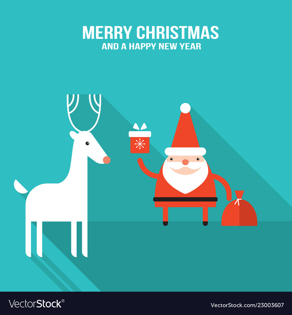 Cute santa claus with gift and presents modern