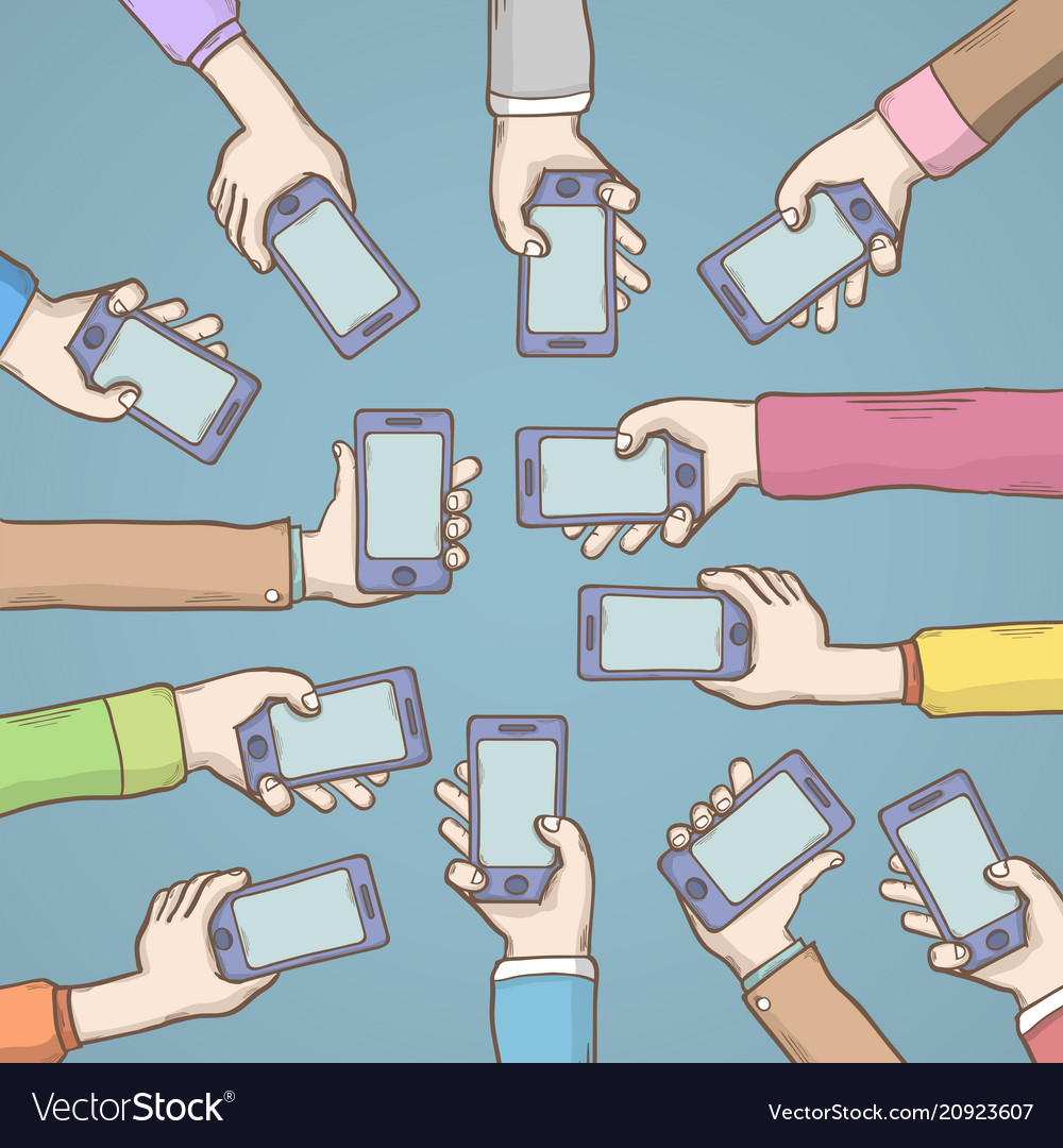 Hands holding smart phones vector image