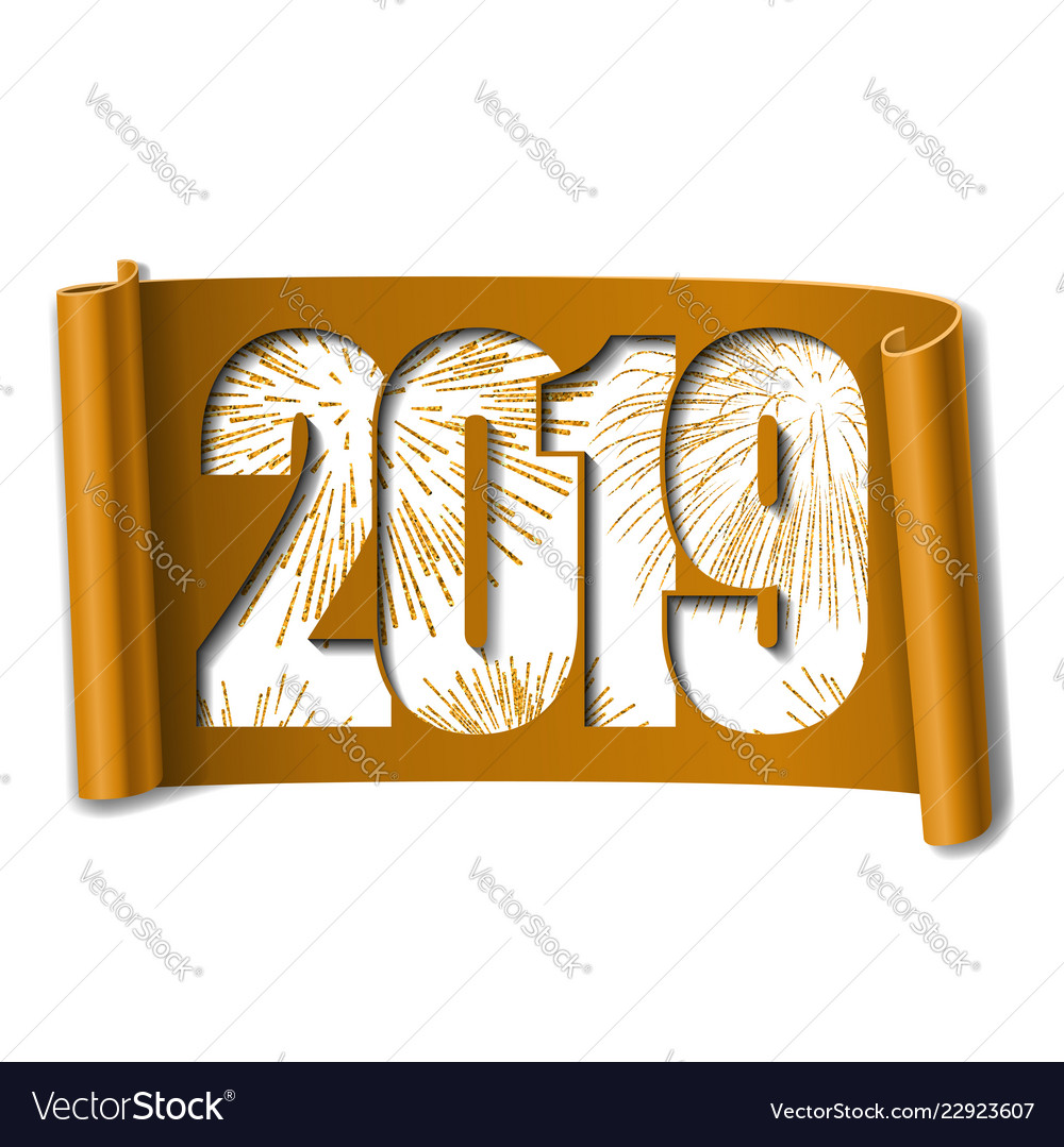Happy new year card white number 2019 gold