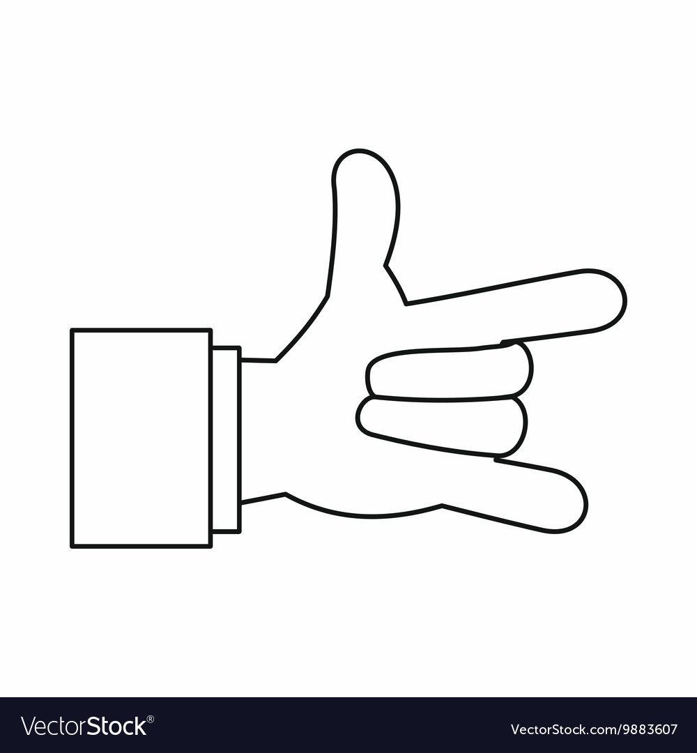 I Love You hand sign icon outline style vector image