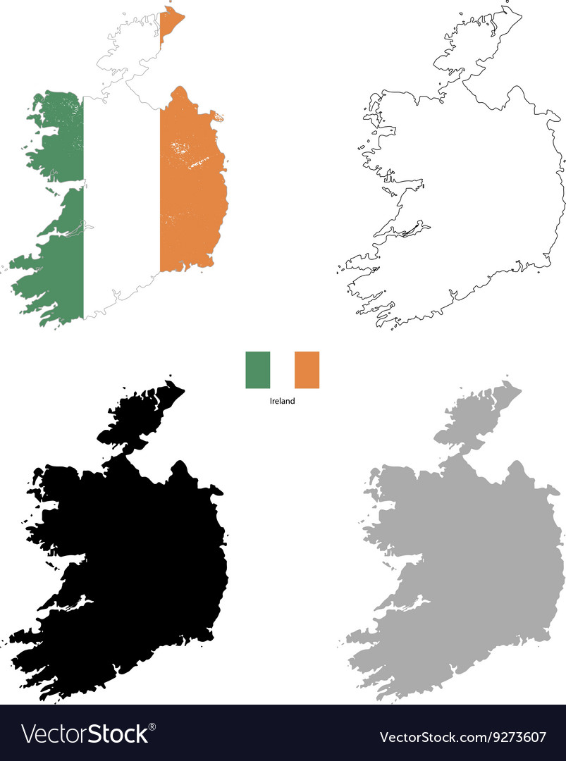 Ireland country black silhouette and with flag on